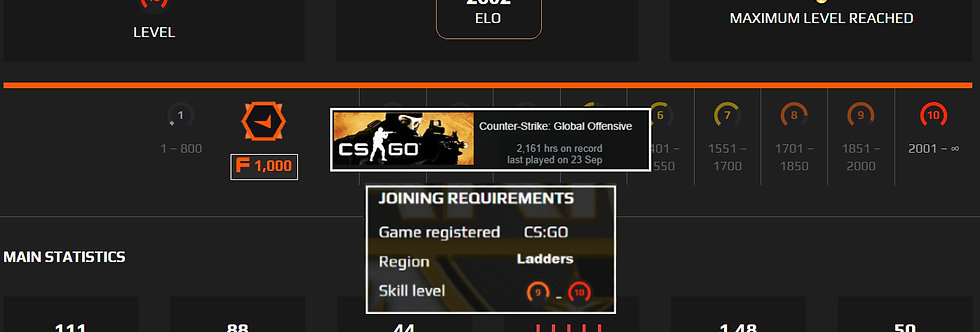 🗲 Faceit Level 10 | 2,602 Elo | 1.48 K/D | 2,161 Hours | Instant Delivery