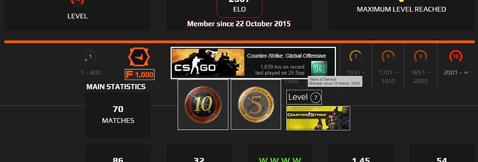 04' Faceit 2,307 Elo | 5/10 Medals | 1,639 Hours | 1,000 Points | Instant Dl.