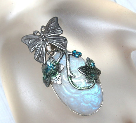 Butterfly and Moonstone Sterling Silver Pendant
