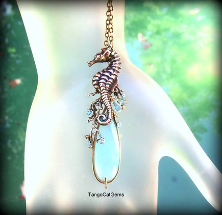 Blue Chalcedony Seahorse Pendant Necklace