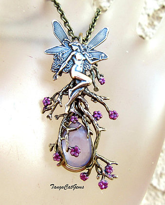 Fairy necklace Organic Pendant Necklace Petite Size Design Hand Painted