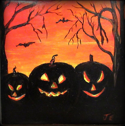 Halloween Tile Pumpkins and Bats