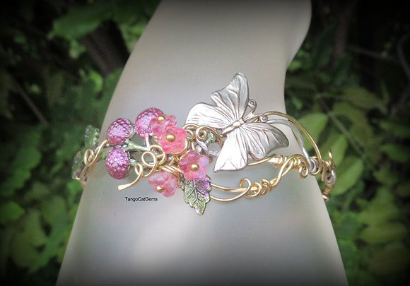 Butterfly and Pink Raspberry Bracelet