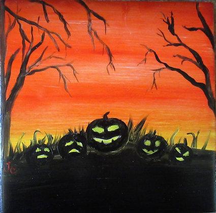 Pumpkin Party Halloween Hand Painted Tile