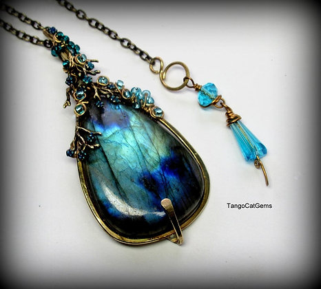 Blue Labradorite Pendant Statement Necklace