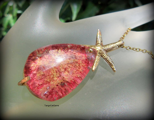 Pink Phantom Quartz Lodolite Starfish Pendant Necklace