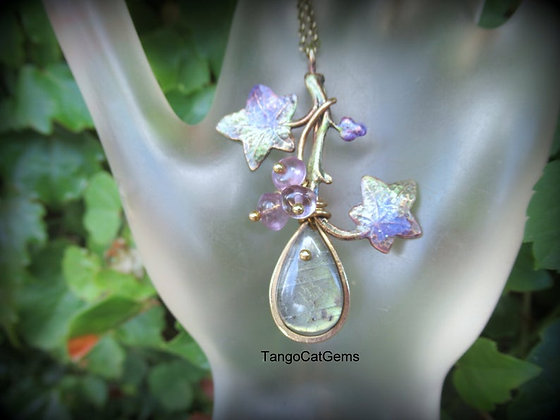 Green Labradorite with Amethyst Ivy Pendant Necklace