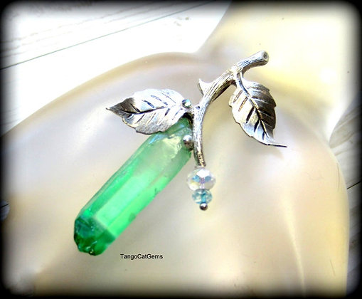 Crystal Quartz Point Silver Leaves Pendant Necklace