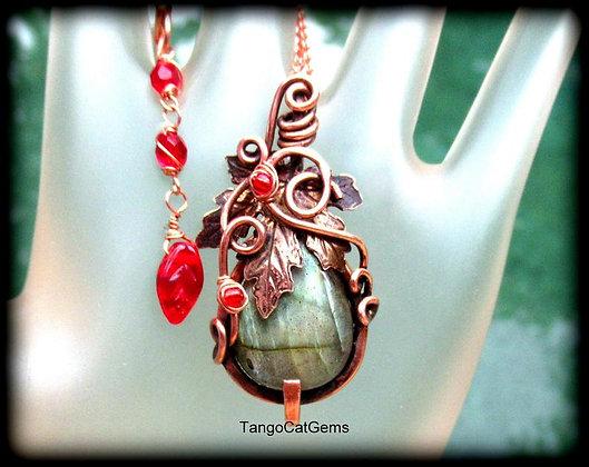 Labradorite Copper Leaf Woodland Pendant Necklace