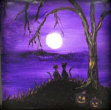 Halloween Tile Full Moon Kitties