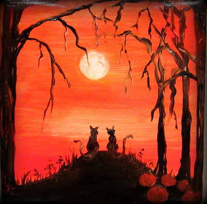 Halloween Tile October Nights Cats On the Hill