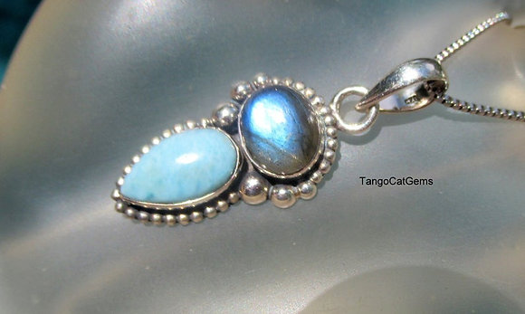 Larimar and Blue Labradorite Sterling Silver Pendant