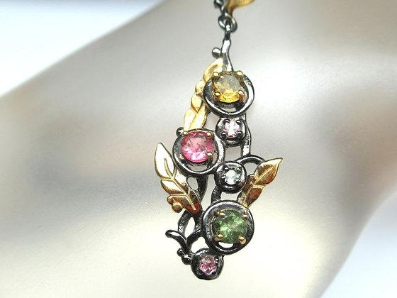 Tourmaline Pendant Sterling Silver Necklace