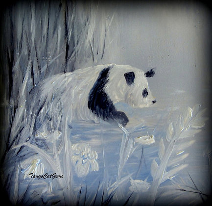 Panda in the Spring Hand Painted Ceramic Tile