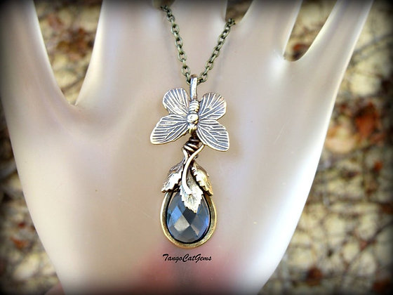 Organic Necklace, Blue Teardrop, Butterfly Pendant , Wire Wrapped Necklace
