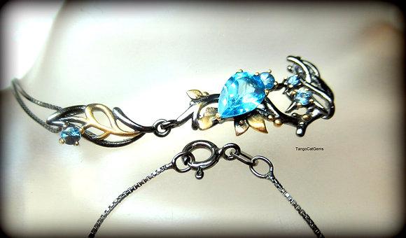 Swiss Blue Topaz Blue Sapphire S/S Necklace