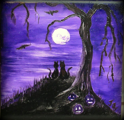 Halloween Tile Just you and I Full Moon Hand Painted holiday