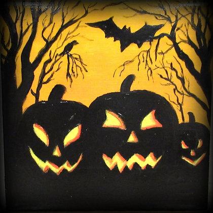 Halloween Tile Pumpkins Bats and Crow