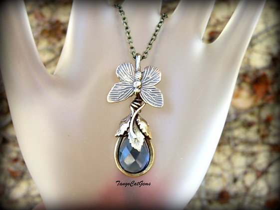 Blue Teardrop, Butterfly Pendant Necklace
