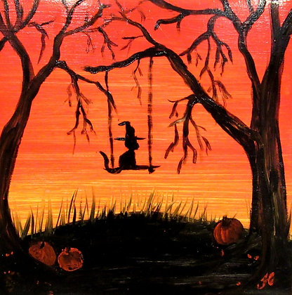 Halloween Tile Kitty on a swing