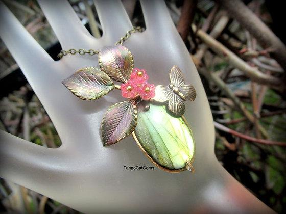 Spring Butterfly Labradorite Pendant Necklace