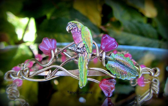 Organic WireWrap Parrot Bracelet Pink (Hand Painted)