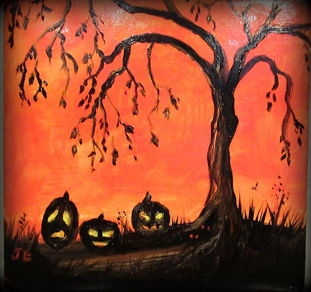 Halloween Tile 3 Pumpkins under the tree