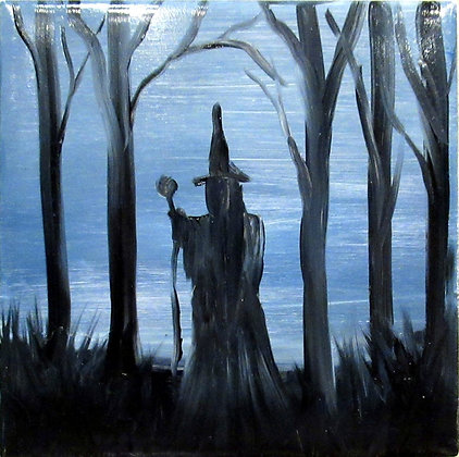 Halloween Tile Hand Painted Ceramic Tile Witch Art Tile