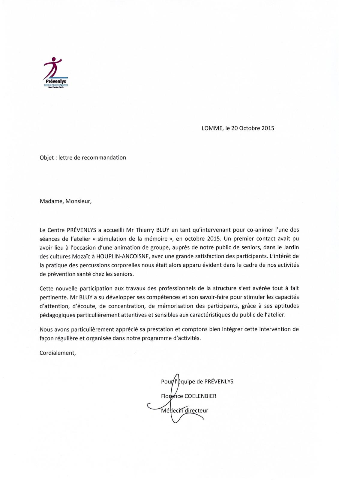 lettre de recommandation pr u00e9venlys