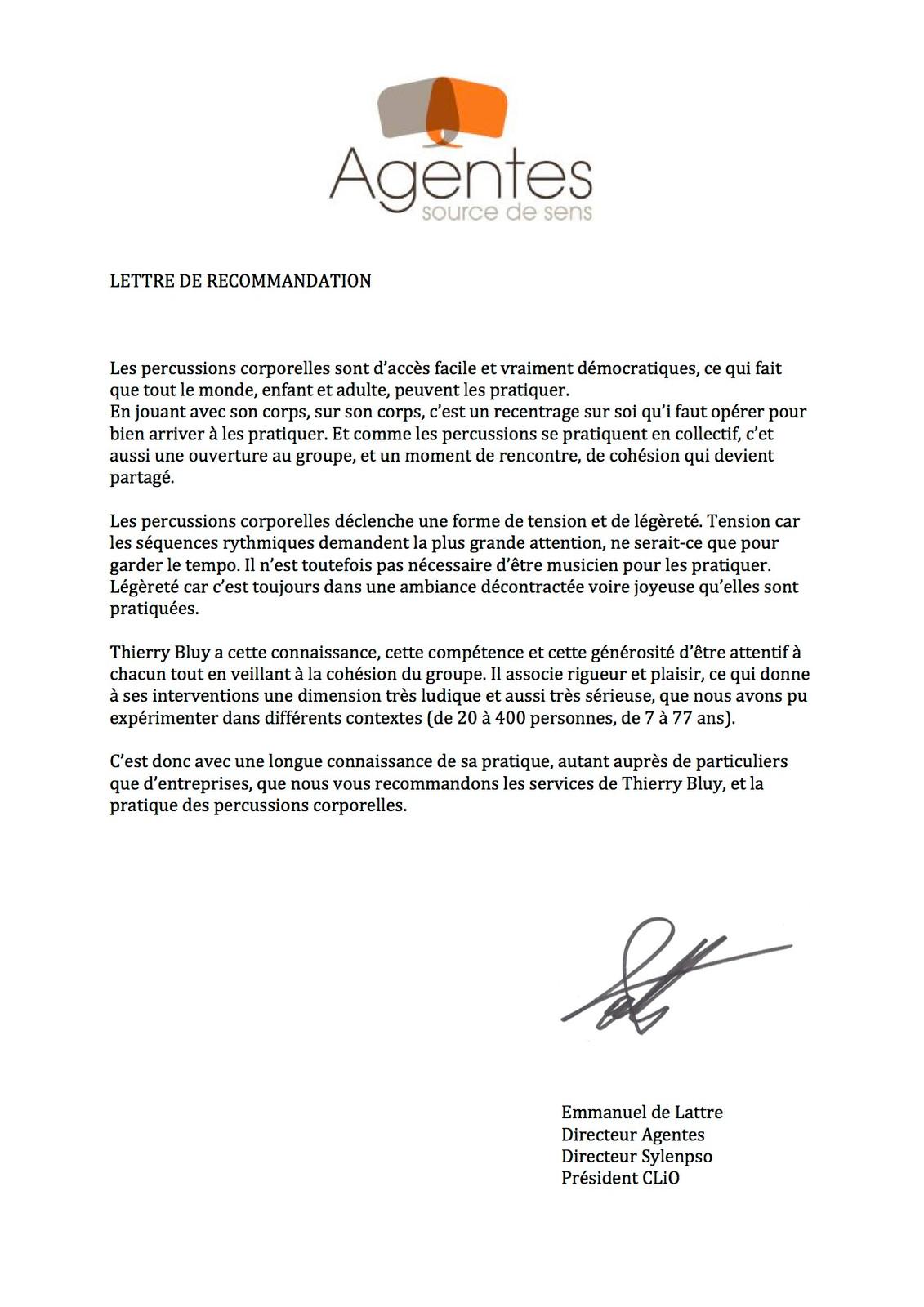 lettre de recommandation agentes