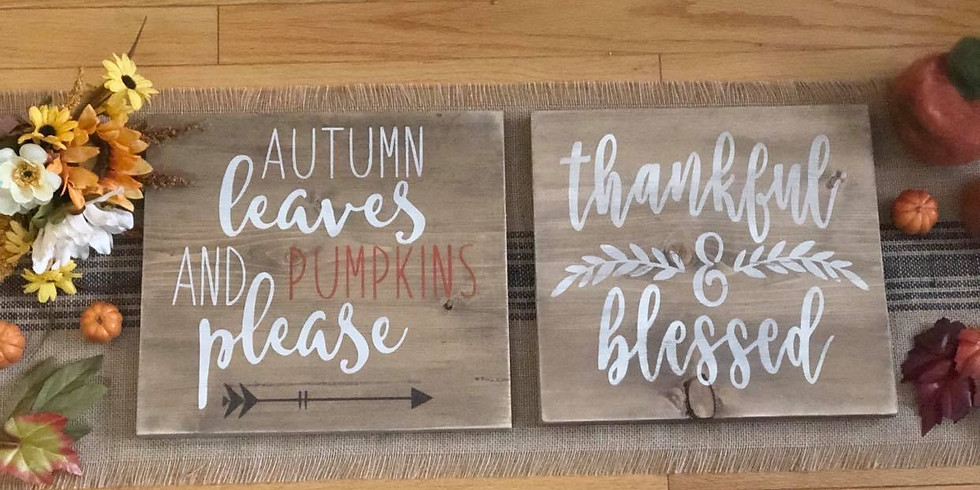 Reversible Autumn Leaves/ Thankful sign
