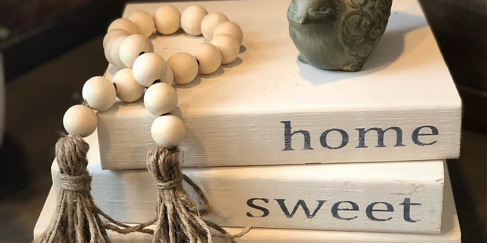 Rustic 'Book' Stacks with Farmhouse Bead Garland