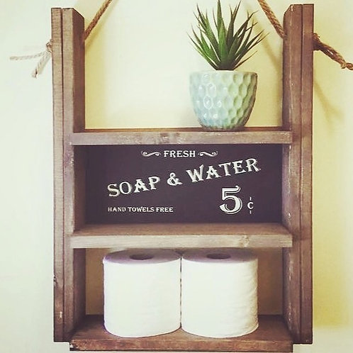 Rustic Bathroom Shelf Kit with Soap and Water Sign