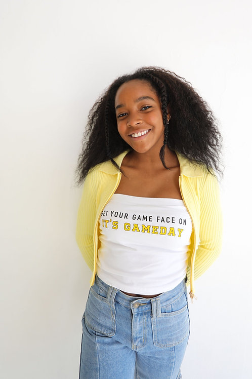 Gold Game Face Tube Top