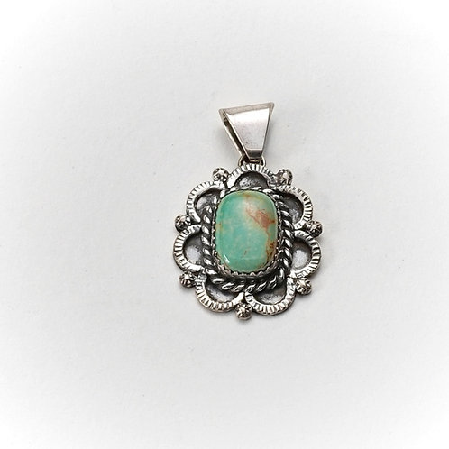 Silver & Green Turquoise Pendent