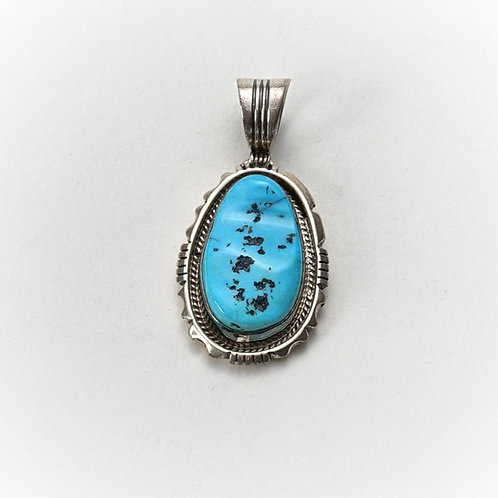 Silver & Turquoise Oval Pendent