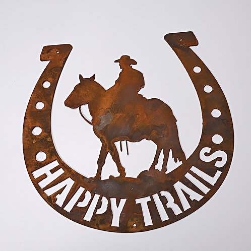 """Happy Trails"" Horseshoe sign"
