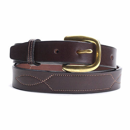 Stiched Leather Belt , Brown or Black