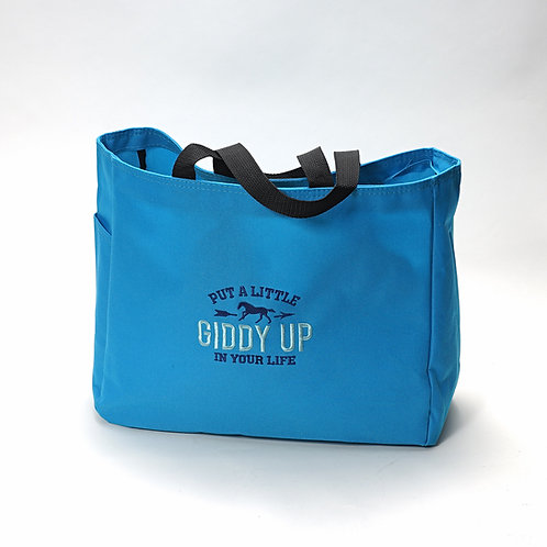 "Canvas Carry Bag, Blue, ""Giddy UP"""
