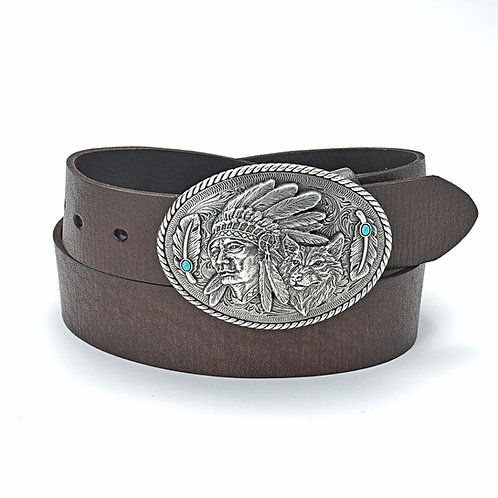 Leather Belt w/Native American