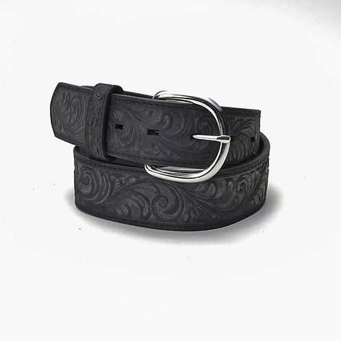 Justin Belt- Black w/chrome Buckle