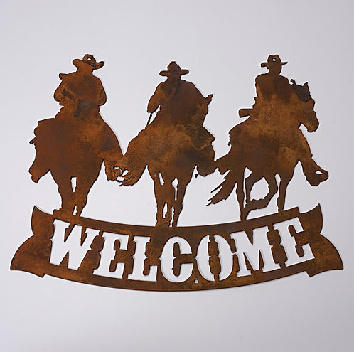 """""""Welcome""""  Cowboys riding sign"""
