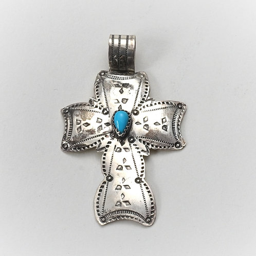 Silver & Turquoise Cross