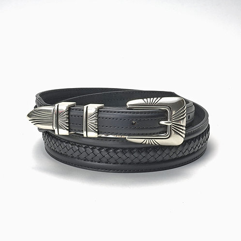 Tony Lama Belt- Black w/Basketweave