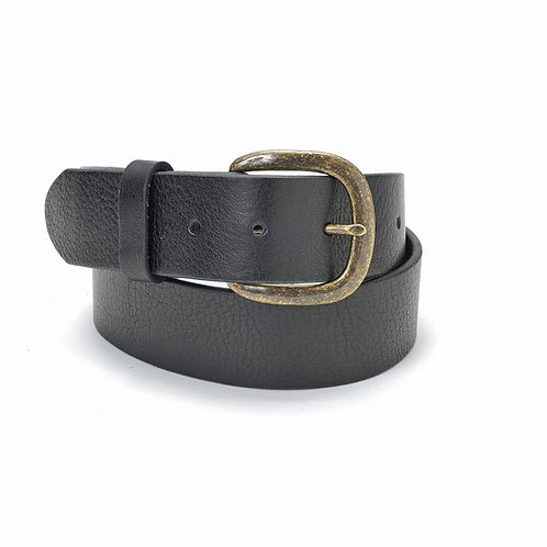Justin Belt - Black Smooth w/Brass Buckle