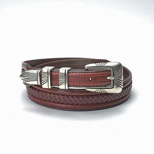 Tony Lama Belt- Brown w/Basketweave