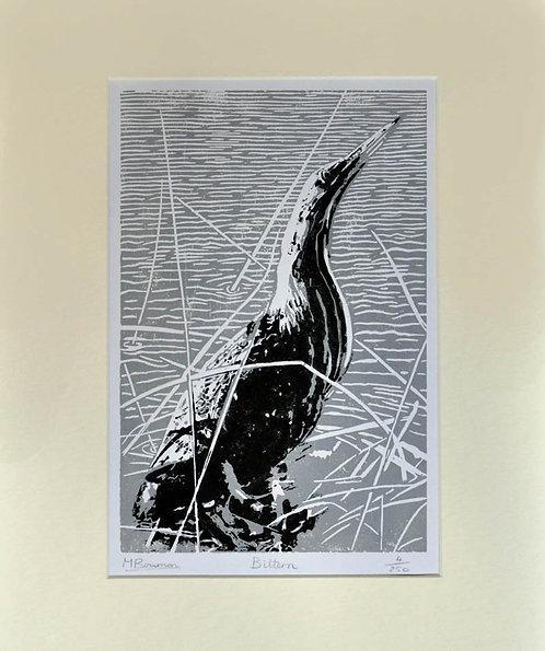 """Bittern"" Lino Print Limited Edition"