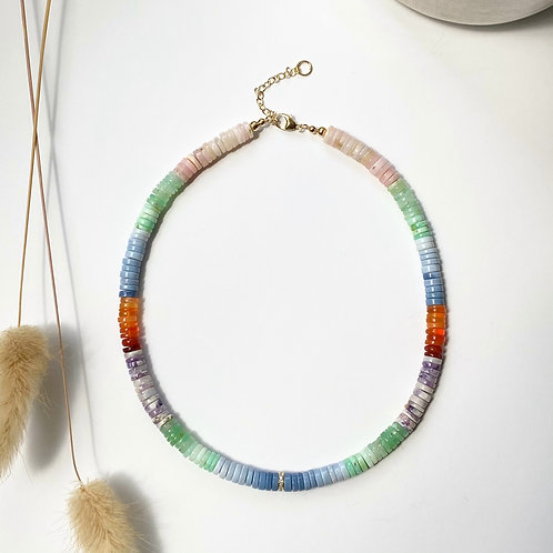 14k Mixed Opal & Pave Diamond Heishi Necklace (Made-to-Order)