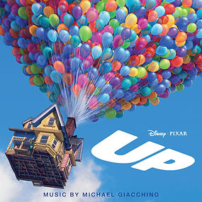 """Album cover of the Upsoundtrack, composed byMichael Giacchino, from The Pixar film """"UP"""".  Album art depicts a traditional-style multicoloured house with hundreds of colourful balloons lifting the house up into bright blue sky Up_Soundtrack.jpg"""