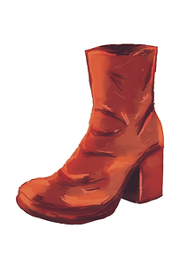 Graphic Illustration of a worn-in red heeled boot on a white background'